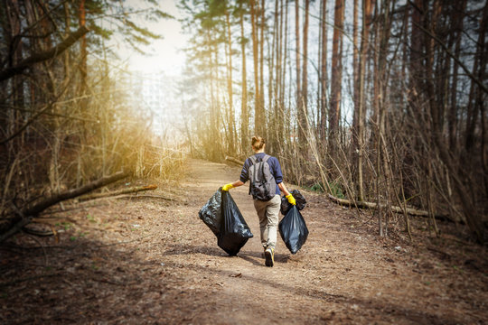 Recycle waste litter rubbish garbage trash junk clean training. Nature cleaning, volunteer ecology green concept. Young woman pick up spring forest at sunset . Environment plastic pollution