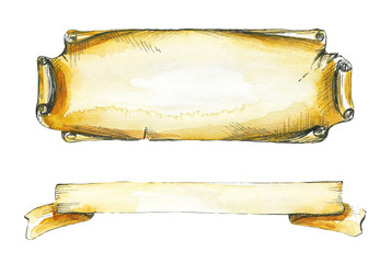 Two inscription frames, imitation old paper. Watercolor hand drawn illustration