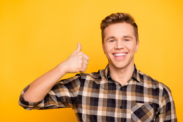 Idea innovation people person emotion product studying expressing promo promotion concept. Close up portrait of handsome excited joyful marketer demonstrating finger up sign isolated on background