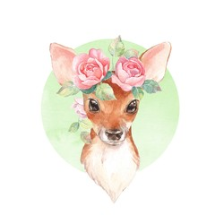 Baby Deer and flowers. Hand drawn cute fawn. Watercolor illustration