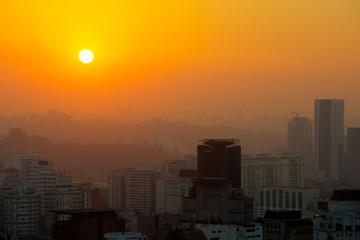 Panoramic view of Sao Paulo at sunset, Brazil, South America