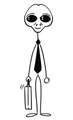 Cartoon stick man drawing conceptual illustration of alien or extra terrestrial monster businessman. Business concept of difference and understanding.