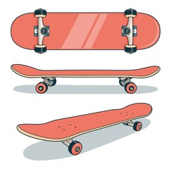 Red skateboard from various angles - color vector illustration.