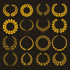 Set of silhouettes of golden laurel wreaths. Gold Wreath vector icons different shapes isolated on white background. Victory, triumph and rewarding. Vector illustration