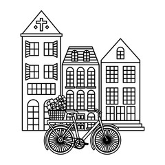old buildings with bicycle cityscape scene vector illustration design