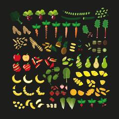 vegan food - fruits and vegetables cut