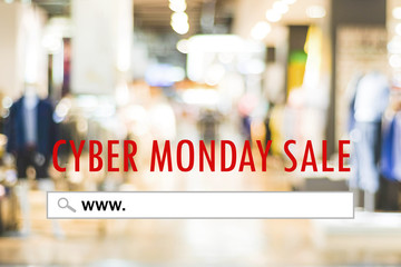 Cyber monday sale banner with www. on search bar over blur store background, Online shopping, business and technology