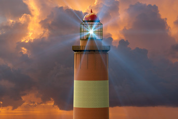 3D rendering of a lighthouse against  a sunset