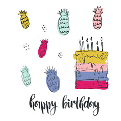 Happy birthday. Hand drawn greeting card with lettering. Modern brush calligraphy. Handwritten ink lettering. Hand drawn vector elements. Modern brush calligraphy. Isolated on white background.