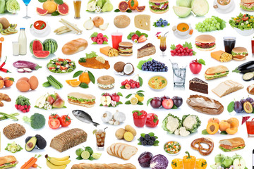 Collection of food and drink background collage healthy eating fruits vegetables fruit drinks...