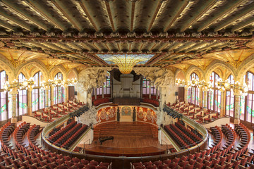 In de dag Theater Palace of Catalan music in Barcelona, Catalonia, Spain