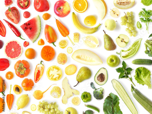 Fototapete pattern of various fresh vegetables and fruits isolated on white background, top view, flat lay. Composition of food, concept of healthy eating. Food texture.