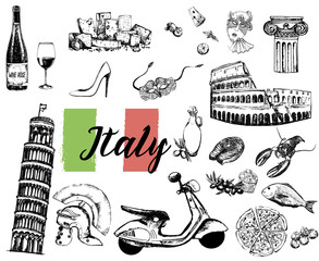 Set of hand drawn sketch style Italian themed objects isolated on white background. Vector illustration.