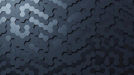 Geometric Hexagon abstract dark background. 3d rendering