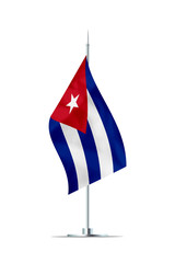 Small Flag of Cuba on a Metal Pole
