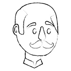bald man character face with mustache vector illustration sketch