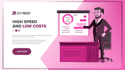 Main Web Page Design Vector. Business Style. Abstract Project Cover. Cartoon Character. Idea Structure. Illustration