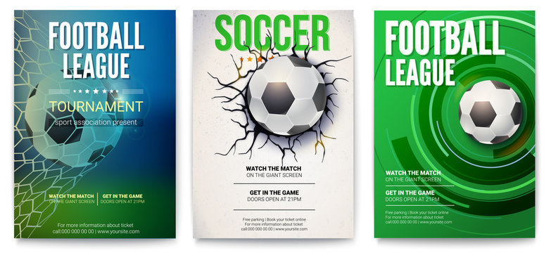 Set of posters of football tournament or soccer league. Graphics design with ball. Design of banner for sport events. Template of advertising for championship of soccer or football, 3D illustration.