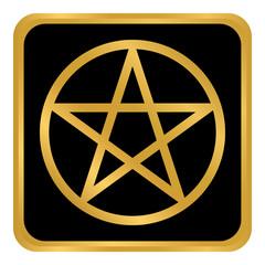 Pentagram button on white.
