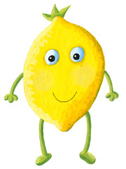 Cute lemon with face isolated on white background
