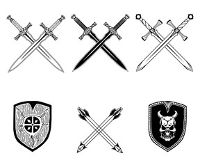 shield sword black white set illustration isolated