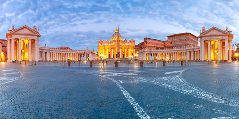 Panoramic view of The Papal Basilica of St. Peter in the Vatican or Saint Peter Cathedral during morning blur hour in Rome, Italy.