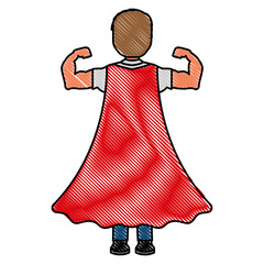 child with a hero cape view from the back vector illustration drawing