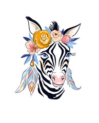Vector stylish boho design. Hand drawn illustration with  zebra and flowers.