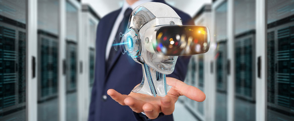 Businessman using virtual reality and artificial intelligence 3D rendering