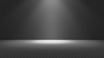 Black tile room with a spotlight, texture pattern background, 3d illustration
