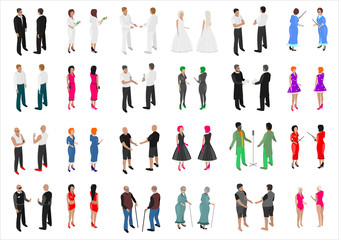 Set of isometries of different people. Different professions . A crowd of people at a party or a wedding.
