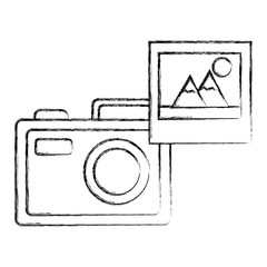 photographic camera picture photo media vector illustration sketch