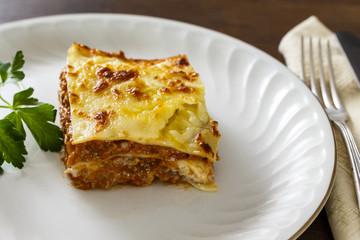 Homemade meat lasagna. Mediterranean cuisine
