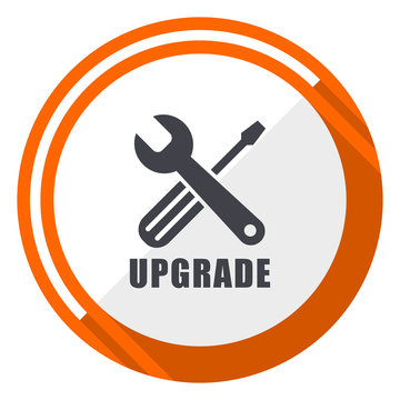 Upgrade flat design orange round vector icon in eps 10