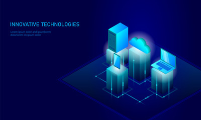 Isometric security cloud storage business concept. Blue glowing isometric personal information data connection pc smartphone future technology. 3D infographic vector illustration