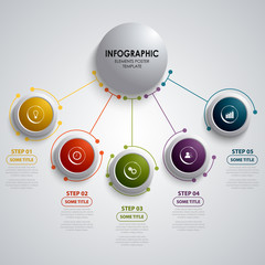 Info graphic with circular design element pointers template