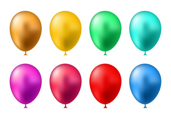 Birthday balloons template. Colorful balloons vector graphic. Vector Illustration of a Happy Birthday Greeting Card Design.