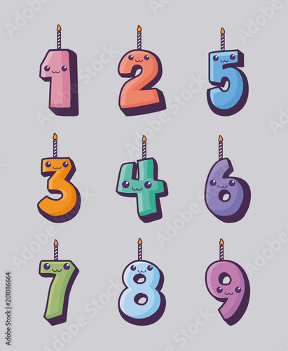 Kawaii Birthday Candles Of Numbers Over Gray Background Colorful Design Vector Illustration