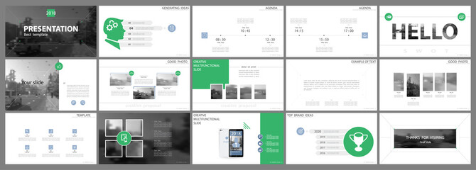 Green, elements of presentation templates, white background. Slide set. Infographic items. Business presentations, corporate reports, marketing, advertising, annual report, booklets, banner, font