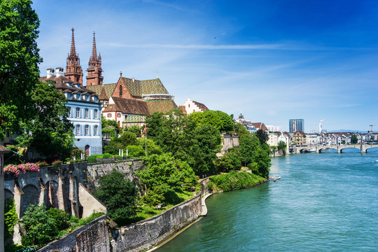 BASEL, SWITZERLAND - June 16, 2017: Rhine river in Basel, Switzerland