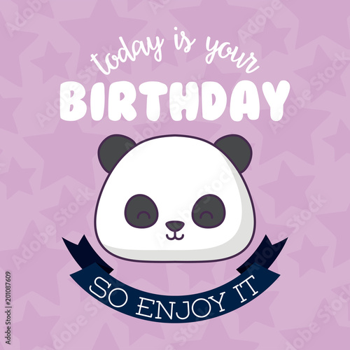 Happy Birthday Card With Cute Panda Bear Icon And Decorative Ribbon
