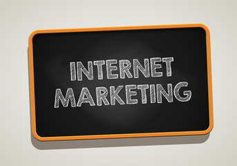 INTERNET MARKETING written in chalkboard. Conceptual image with word INTERNET MARKETING. Vector stock.