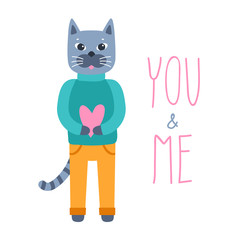 Cute cat character with heart in hand on white background. Vector illustration with the words YOU and ME in doodle  cartoon style. Concept for romantic greeting.