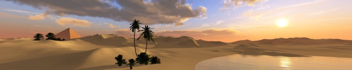 oasis in the sandy desert, a panoramic desert landscape with palm trees and a pond