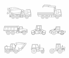 Construction machines icons set, thin line style