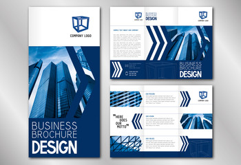 Business trifold brochure template (A4 to DL format) - modern office buildings/ skyscrapers.