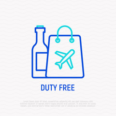 Duty free thin line icon. Modern vector illustration of untaxed shop in airport.