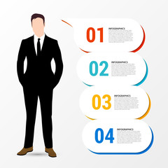 Infographic design template. Businessman with 4 steps