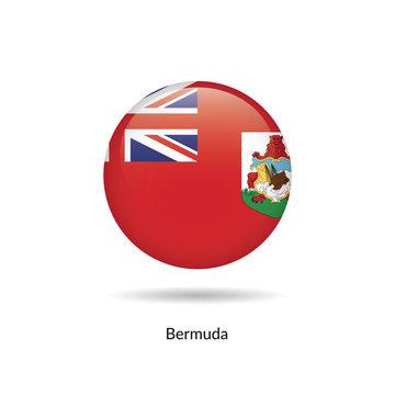 Bermuda flag - round glossy button. Vector Illustration.