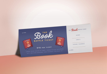 Raffle Ticket Layout with Book Illustrations